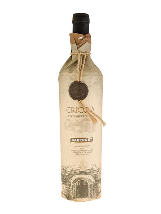 Cricova Vin Rosu Demidulce Hartie Cabernet 2 bucati X 0.75L