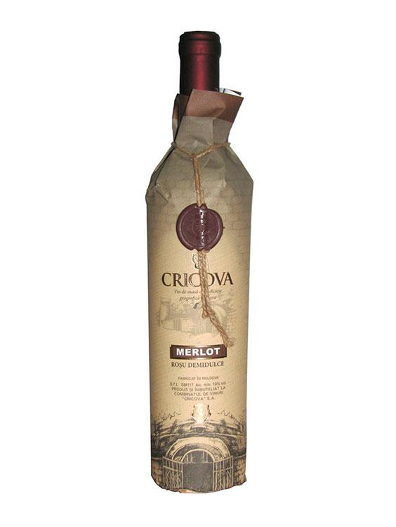 Cricova Vin Rosu Demidulce Hartie Merlot 2 bucati X 0.75L