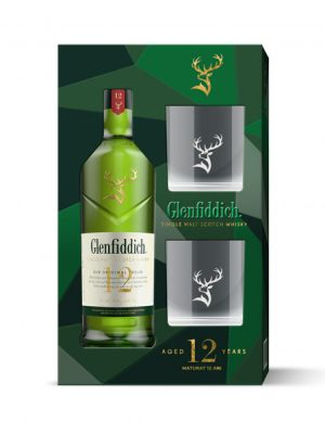 GLENFIDDICH 12 YO SINGLE MALT WHISKY 0.7L 2 GLASSES