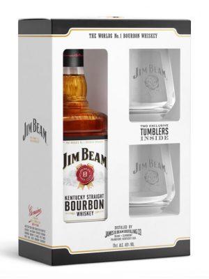 JIM BEAM WHISKY WHITE 0.7L 2 GLASSES