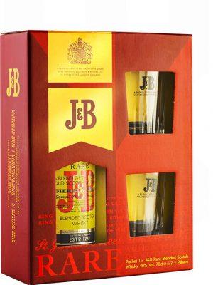 J&B RARE WHISKY 0.7L 2 GLASSES