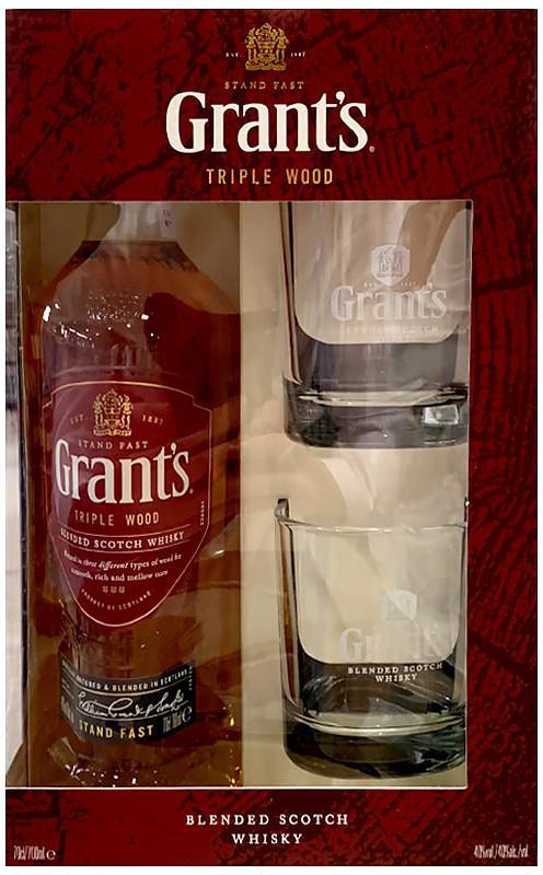 GRANT'S WHISKY TRIPLE WOOD 0.7L 2 GLASSES